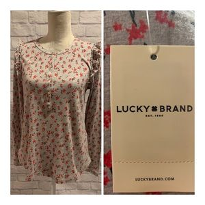 Lucky Brand floral long sleeve Henley T-shirt